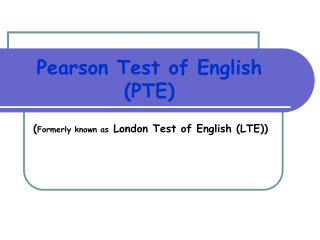 Pearson Test of English PTE
