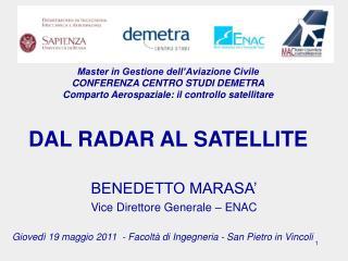 Master in Gestione dell Aviazione Civile  CONFERENZA CENTRO STUDI DEMETRA  Comparto Aerospaziale: il controllo satellita