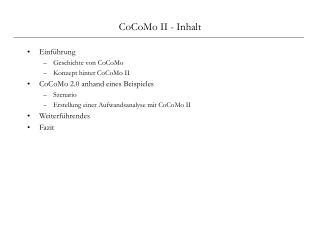 CoCoMo II - Inhalt