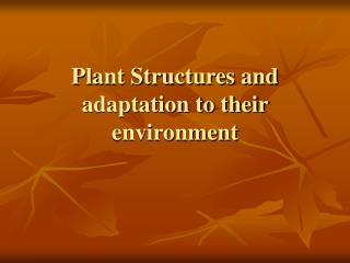 Plant Structures and adaptation to their environment