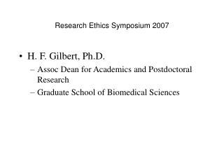 Research Ethics Symposium 2007