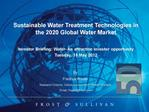 Sustainable Water Treatment Technologies in the 2020 Global Water Market