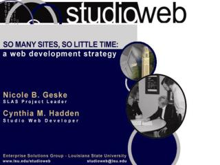 Studio Web is not . . .