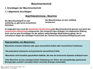 WWU   Institut f r Technik und ihre Didaktik   Hein Maschinentechnik   1. Grundlagen