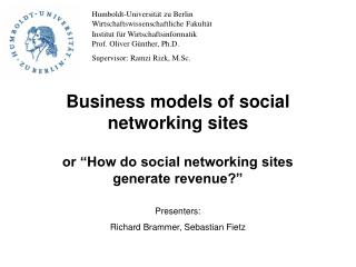 Business models of social networking sites