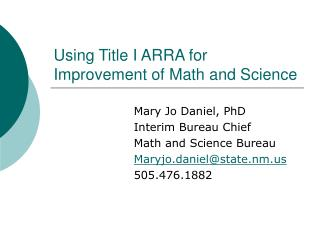 Using Title I ARRA for Improvement of Math and Science