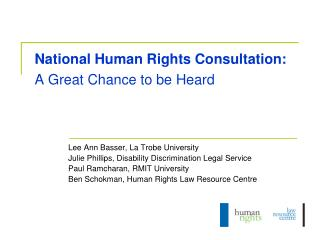 National Human Rights Consultation: A Great Chance to be Heard