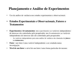 Planejamento e An lise de Experimentos