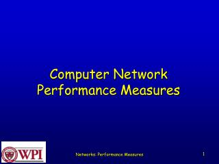 Computer Network  Performance Measures