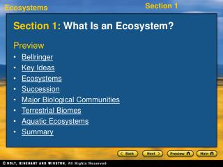 Section 1: What Is an Ecosystem