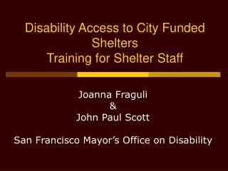 Disability Access to City Funded Shelters Training for Shelter Staff