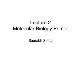 Lecture 2 Molecular Biology Primer