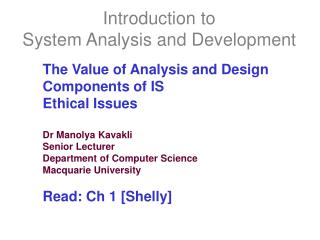 Introduction to  System Analysis and Development