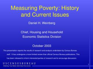 Measuring Poverty: History and Current Issues