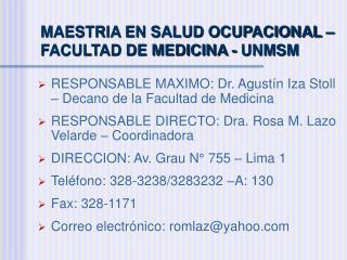 MAESTRIA EN SALUD OCUPACIONAL   FACULTAD DE MEDICINA - UNMSM