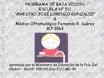 PROGRAMA DE BAJA VISI N  ESCUELA N  511  MAESTRO JOS  LORENZO GONZALEZ   M dico Oftalmol gico Fernando R. Su rez M.P 196