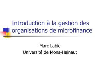 Introduction   la gestion des organisations de microfinance