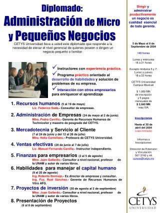 Diplomado: Administraci n de Micro y Peque os Negocios