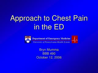 Approach to Chest Pain in the ED
