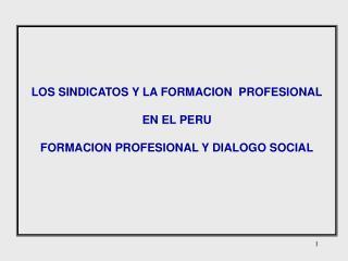 LOS SINDICATOS Y LA FORMACION  PROFESIONAL EN EL PERU FORMACION PROFESIONAL Y DIALOGO SOCIAL