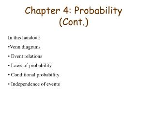 Chapter 4: Probability Cont.