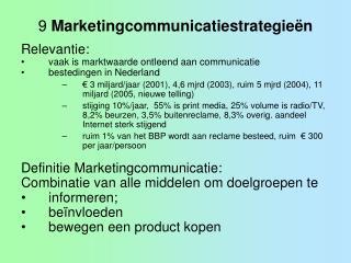 9 Marketingcommunicatiestrategie n
