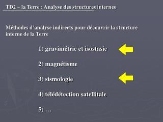 TD2   la Terre : Analyse des structures internes