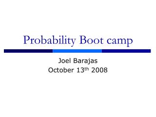 Probability Boot camp
