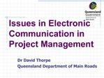 Issues in Electronic Communication in Project Management