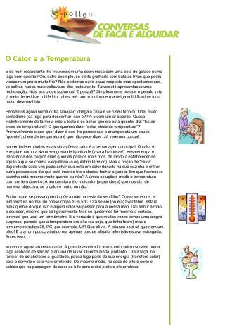 O Calor e a Temperatura