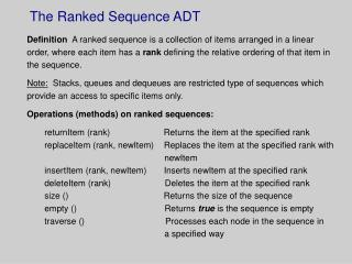 The Ranked Sequence ADT