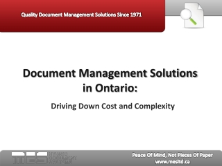 Document Management Solutions in Ontario:  Driving Down Cost