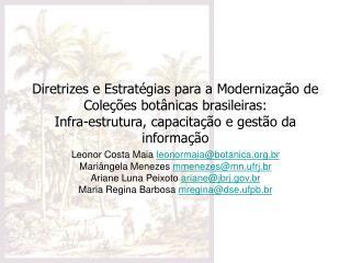 Diretrizes e Estrat gias para a Moderniza  o de Cole  es bot nicas brasileiras:  Infra-estrutura, capacita  o e gest o d