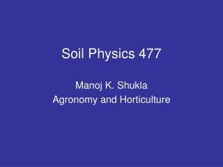 Soil Physics 477