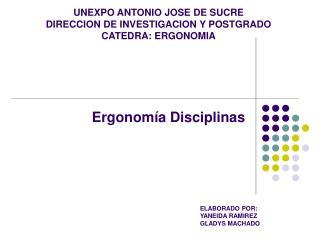 UNEXPO ANTONIO JOSE DE SUCRE DIRECCION DE INVESTIGACION Y POSTGRADO CATEDRA: ERGONOMIA