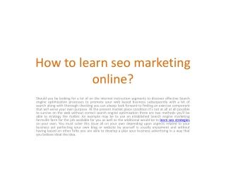 Learn SEO Strategies