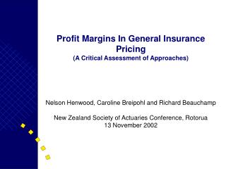 Profit Margins In General Insurance Pricing A Critical Assessment of Approaches
