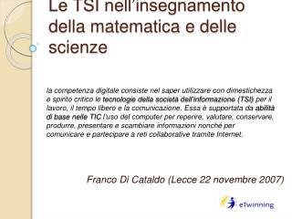 Le TSI nell insegnamento della matematica e delle scienze