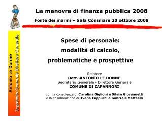 Antonio Le Donne Segretario Generale Direttore Generale