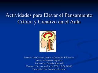 Actividades para Elevar el Pensamiento Cr tico y Creativo en el Aula