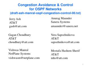 Congestion Avoidance  Control for OSPF Networks draft-ash-manral-ospf-congestion-control-00.txt