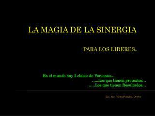 LA MAGIA DE LA SINERGIA          para los Lideres.