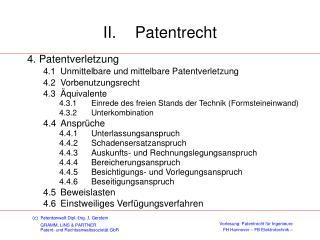 II. Patentrecht