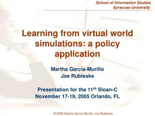 Learning from virtual world simulations: a policy application
