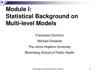 Module I:  Statistical Background on Multi-level Models