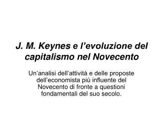 J. M. Keynes e l evoluzione del capitalismo nel Novecento