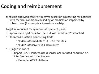 Coding and reimbursement