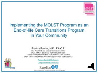 Implementing the MOLST Program as an  End-of-life Care Transitions Program  in Your Community
