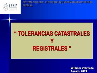 TOLERANCIAS CATASTRALES  Y  REGISTRALES