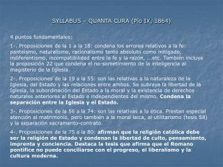 SYLLABUS   QUANTA CURA P o IX, 1864